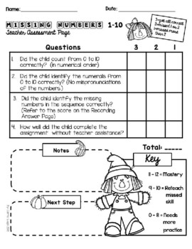 Fall Scarecrow (Level 3) Missing Numbers 1-10