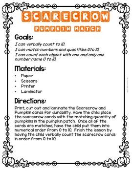 Fall Scarecrow (Level 2) Pumpkin Number Match 1-10