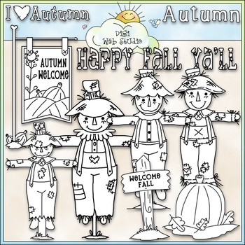 Fall Scarecrows Clip Art - Autumn Clip Art - Fall Clip Art - CU Clip Art & B&W