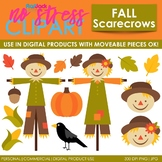 Fall Scarecrows Clip Art (Digital Use Ok!)
