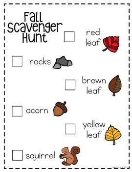 Fall Scavenger Hunt Freebies