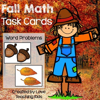 Math Word Problems- Fall Task Cards