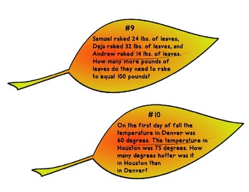 3rd Grade Math Word Problems- Fall Task Cards