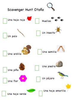 Fall Scavenger Hunt Spanish