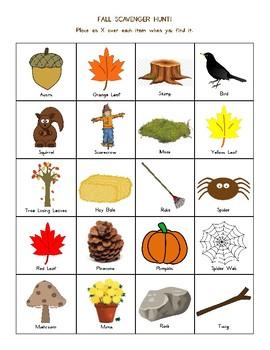 Fall Scavenger Hunt & Learning Center Activities