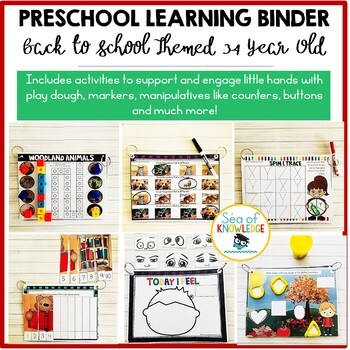 Fall School Learning Busy Book Binder Preschool Toddlers Age 3-4 - Personalised