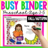 Fall School Printable Busy Book Binder Preschool Toddlers Age 3-4 - CUSTOM