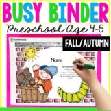 Fall School Themed Learning Busy Book Binder Preschool Age