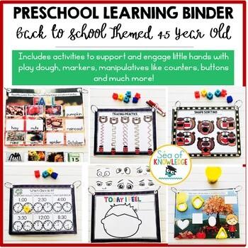 Fall School Themed Learning Busy Book Binder Preschool Age 4-5 - Personalised
