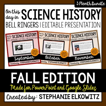 Fall Science History Bell Ringers (Paperless & Editable)