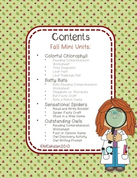 Fall Science Mini Unit: BUNDLE PACK!  Bats, Spiders, Owls, and Chlorophyll