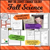 Fall Activities Why do Leaves Change Colors, Experiments, Interactive Notebook