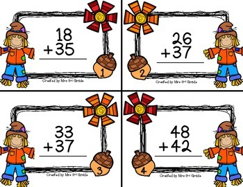 Fall Scoot:  2-digit Addition (with carrying)