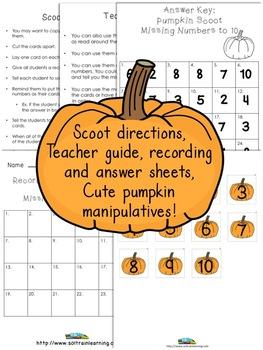Pumpkin Activities Bundle For Missing Numbers to 20