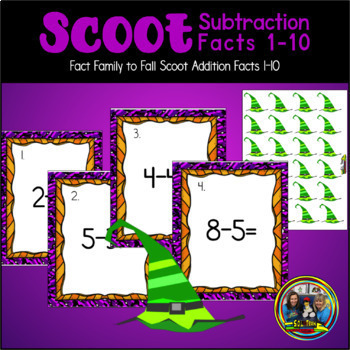 Halloween Math Scoot Game with Subtraction to Ten
