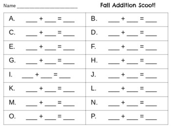 Fall Scoot with Addition!