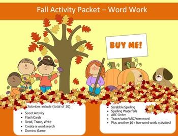 Fall Season - 10 words packet - 20 activities of word work