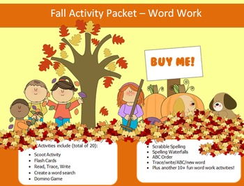 Fall Season - 20 words packet - 20 activities of word work - 90 pages