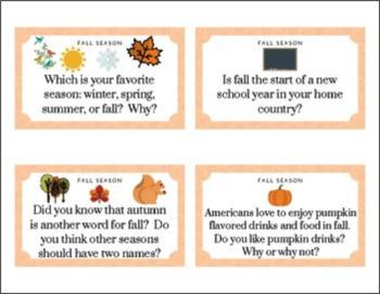 Fall Season Conversation Cards for ELLs