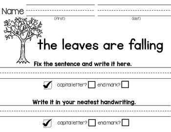 Fix the Sentences-Fall Season