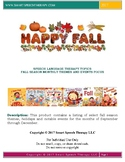 Fall Season Monthly Themes and Events Focus for Language Therapy
