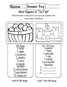 Fall Season Sorting Activity with Two Follow Up Worksheets