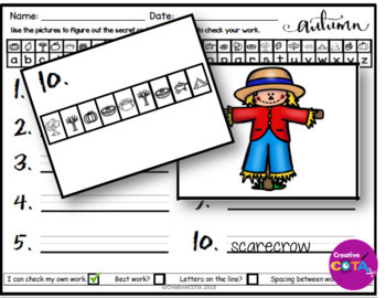 Fall Secret Code Writing and Activities