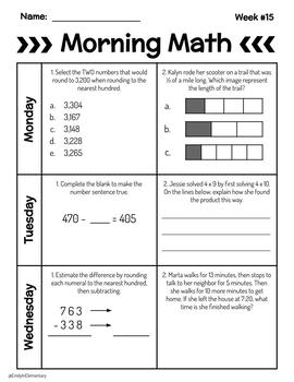 Fall Semester 3rd Grade Morning Math