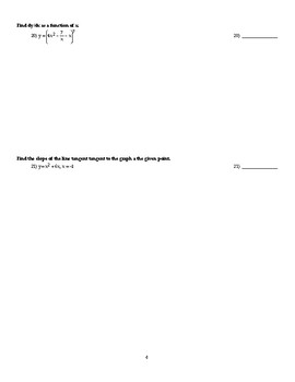 Fall Semester Calculus AP AB Exam Version 1
