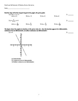 Fall Semester Derivatives Review with Related Rates AP Calculus AB