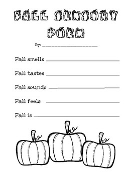 Fall Sensory Poem