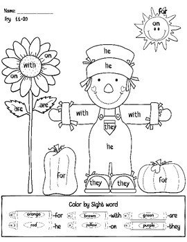 Fall Sentence Building and Color by Sight Word 9 pages!
