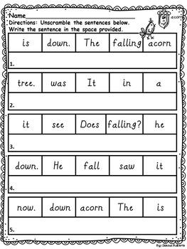 Fall Sentence Jumbles (Scrambled Sentences)
