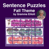 Sentence Puzzles for Grades 1-2  Fall Themed Sentences