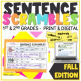 Fall Sentence Scrambles   Sentence Building   Sentence Writing