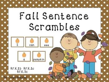 Fall Sentence Scrambles