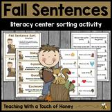 Fall Activities | Writing Center Activity | Literacy Centers | Sentence Sort