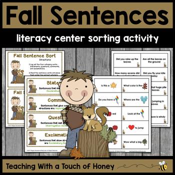 Fall Activities   Writing Center Activity   Literacy Centers   Sentence Sort