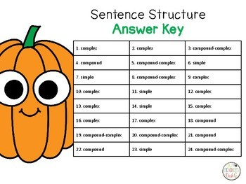 Fall Sentence Structure Task Cards with QR Codes