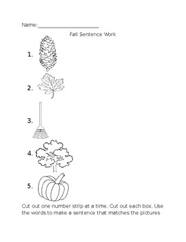 Fall Sentence Work with Sight Words, Cut and Glue Activity