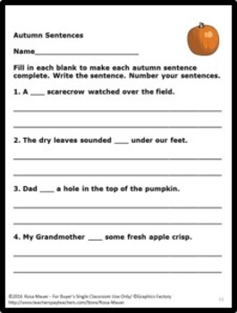 Fall Language Arts Sentences Task Cards and Worksheets
