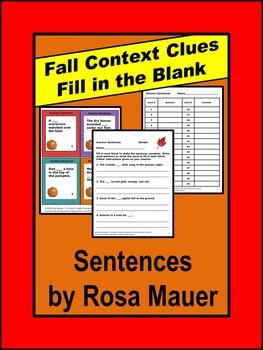 Fall Sentences Autumn Task Cards and Worksheet
