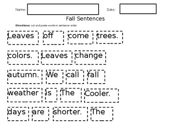 Fall Sentences Cut & Paste