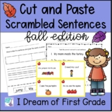 Fall Sentences - Cut and Paste Word Order and Punctuation and Task Cards