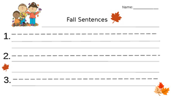 Fall Sentences Writing Sheet