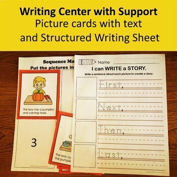 Fall Sequencing Activities Differentiated Writing Center and Worksheets
