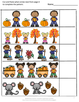 Fall Math Center Sequencing Addition Subtraction P-k, K, Special Ed Fine Motor
