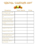 Fall Shopping Scavenger Hunt