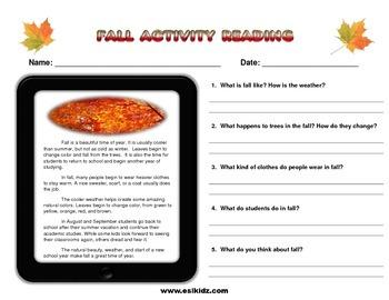 Fall Short Reading Activity