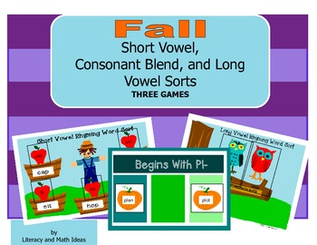 Fall Short Vowel, Consonant Blend, and Long Vowel Sorts